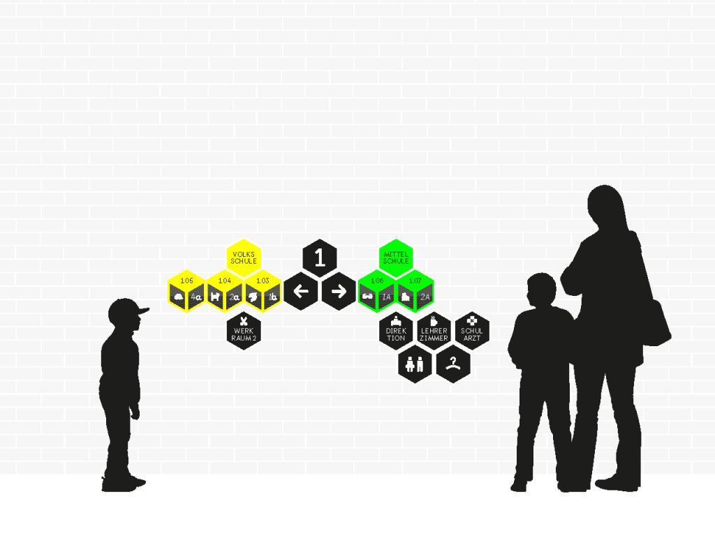 2D Ansicht der Geschossübersicht, erstes Geschoss mit Personen-Silhouetten.