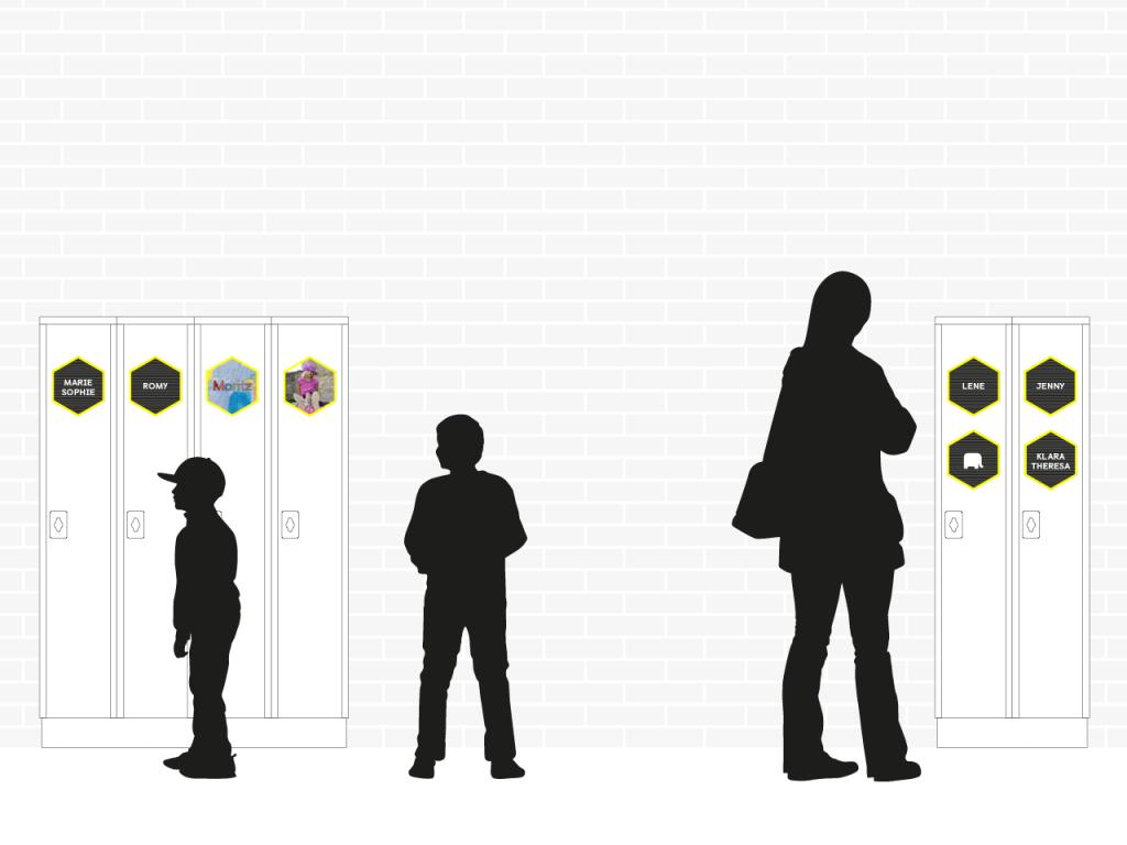 2D Ansicht der Spintschränke mit Personen-Silhoutten. Die Spintschränke sind mit sechseckigen Modulen aus dem Leitsystem versehen, diese sind verschieden bestückt mit Namen aus Steckbuchstaben, Klassenpiktogramm und Portraits der Schüler_Innen.