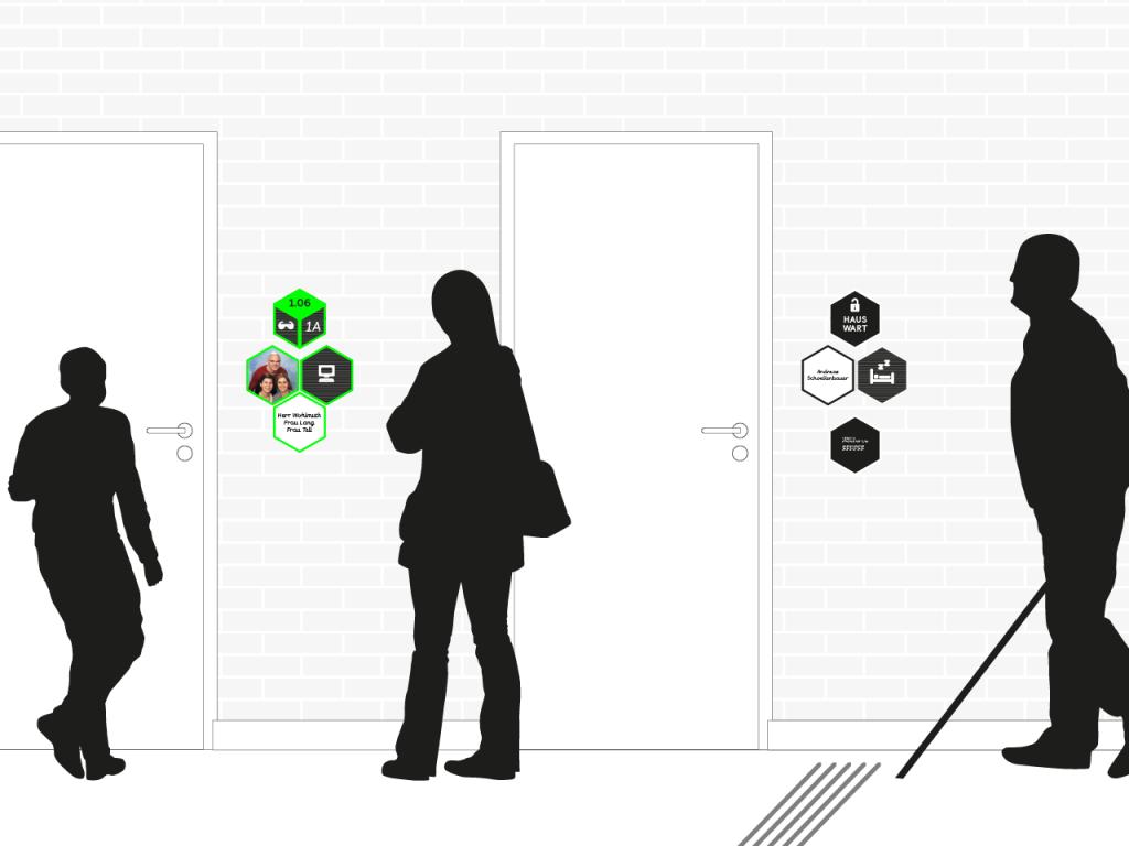 2D Ansicht der Türbeschilderungen mit Personen-Silhoutten.